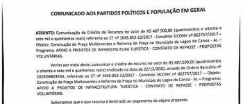 COMUNICADO AOS PARTIDOS POLITICOS E POLULAÇÃO EM GERAL